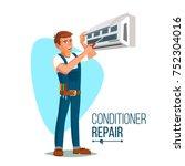air conditioner repair worker... | Shutterstock .eps vector #752304016