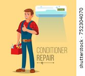 professional air conditioner... | Shutterstock .eps vector #752304070