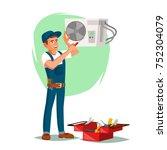 air conditioner repair service...   Shutterstock .eps vector #752304079