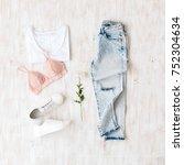 white t shirt  light blue... | Shutterstock . vector #752304634