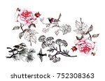 floral pattern with pink roses... | Shutterstock . vector #752308363