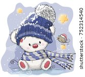 christmas card cute cartoon... | Shutterstock .eps vector #752314540