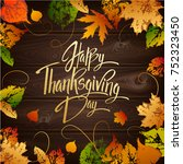 happy thanskgiving day greeting ... | Shutterstock .eps vector #752323450