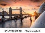 the tower bridge in london... | Shutterstock . vector #752326336