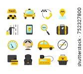 taxi app flat icons set. vector ... | Shutterstock .eps vector #752327800