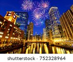 fireworks over chicago... | Shutterstock . vector #752328964