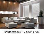 modern bright interiors. 3d...   Shutterstock . vector #752341738