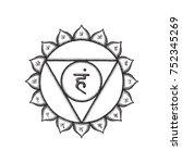 fifth vishuddha throat chakra...   Shutterstock . vector #752345269