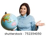 portrait of a girl with a globe.... | Shutterstock . vector #752354050