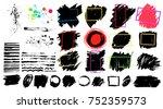 black paint  ink brush stroke ... | Shutterstock .eps vector #752359573