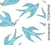 swift bird vector seamless... | Shutterstock .eps vector #752363968