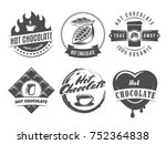 vector hot chocolate logos.... | Shutterstock .eps vector #752364838