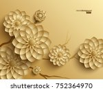 3d branches of golden arabesque ... | Shutterstock .eps vector #752364970