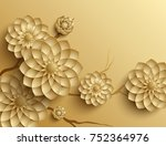 3d branches of golden arabesque ... | Shutterstock . vector #752364976