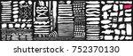 big set of black paint  ink... | Shutterstock .eps vector #752370130