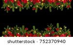 christmas garland background... | Shutterstock . vector #752370940