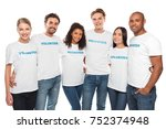 multiethnic group of embracing... | Shutterstock . vector #752374948