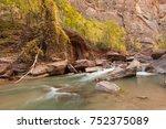 virgin river zion national park ...   Shutterstock . vector #752375089