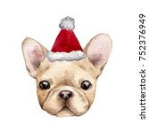 french bulldog with santa hat.... | Shutterstock . vector #752376949