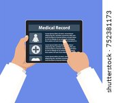 doctor checking medical record... | Shutterstock .eps vector #752381173