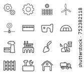 thin line icon set   gear  sun... | Shutterstock .eps vector #752382118