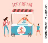 ice cream seller with customers.... | Shutterstock .eps vector #752385004
