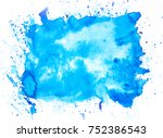 blue watercolor brush stains... | Shutterstock . vector #752386543