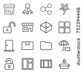 thin line icon set   shop ... | Shutterstock .eps vector #752394448