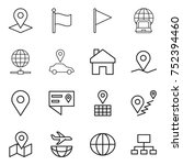 thin line icon set   pointer ... | Shutterstock .eps vector #752394460