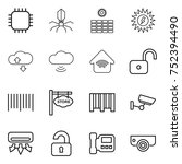 thin line icon set   chip ... | Shutterstock .eps vector #752394490