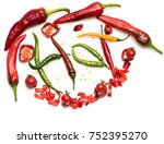 chopped chili peppers in red... | Shutterstock . vector #752395270