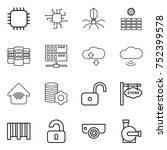 thin line icon set   chip ... | Shutterstock .eps vector #752399578