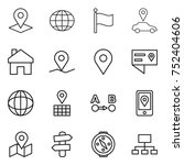 thin line icon set   pointer ... | Shutterstock .eps vector #752404606