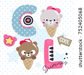 cute teddy bear ice cream cone... | Shutterstock .eps vector #752405068