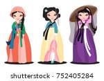 set of the beautiful hanboks on ...   Shutterstock .eps vector #752405284