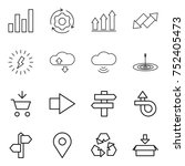 thin line icon set   graph ... | Shutterstock .eps vector #752405473