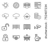 thin line icon set   chip  sun... | Shutterstock .eps vector #752407234