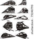 cargo and passenger train...   Shutterstock .eps vector #75240793