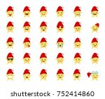 set icon santa star emoticon.... | Shutterstock .eps vector #752414860
