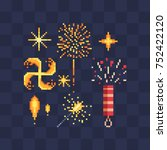 Bengal fire and fireworks icons. Design of a congratulatory holiday card. Vector icon set. Pixel art style. Isolated illustration | Shutterstock vector #752422120
