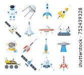 space vehicle set. rocket... | Shutterstock .eps vector #752439328