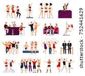 dancing night club sexy girls... | Shutterstock . vector #752441629