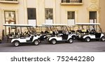 golf cars are in the yard   Shutterstock . vector #752442280