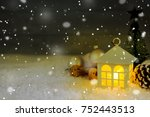 beautiful christmas house with... | Shutterstock . vector #752443513