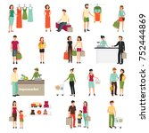 shopping people set with... | Shutterstock . vector #752444869
