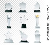 modern glass cup trophies and... | Shutterstock . vector #752447974