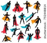 set of black superhero... | Shutterstock . vector #752448814