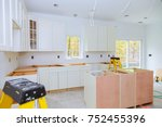 custom kitchen cabinets in... | Shutterstock . vector #752455396