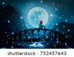 little girl sitting on the... | Shutterstock . vector #752457643
