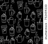 coffee doodle seamless pattern... | Shutterstock .eps vector #752459233